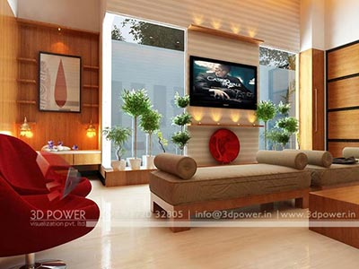 bungalow living room interior rendering