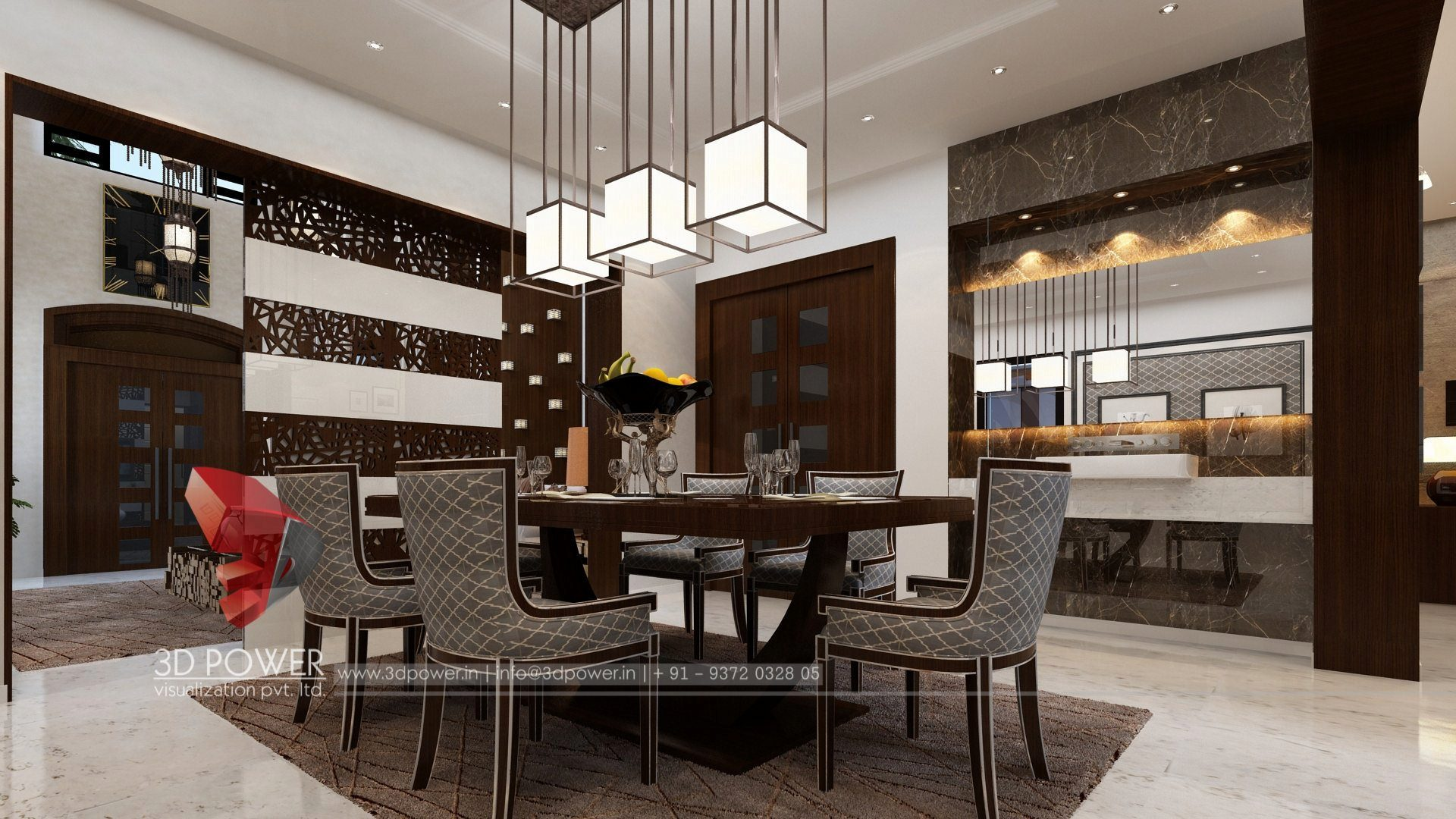 3d architectural rendering dining room interior design