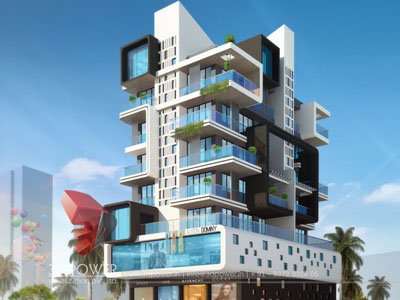 Apartment Elevation Designing | 3D Architectural Rendering Services ...