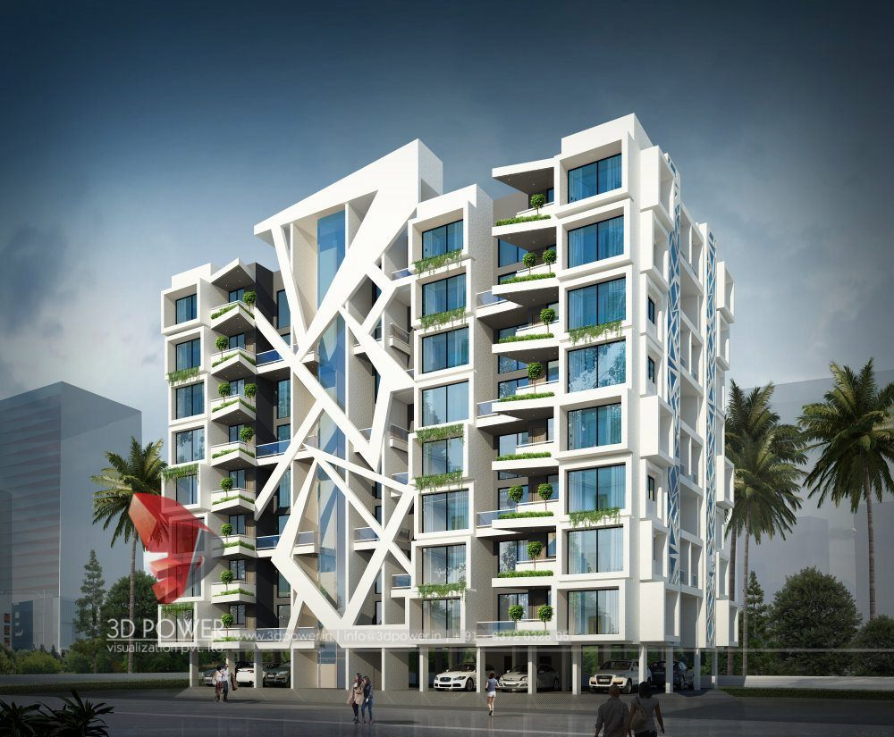 Modern Apartment Building Elevations: Apartment Design Rendering