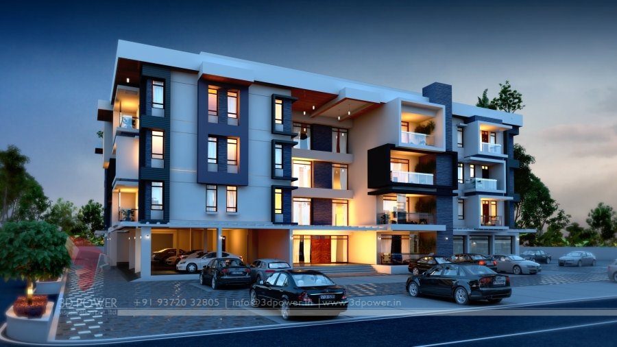 Front Elevation Designs Of Apartments : Architectural apartment rendering d design