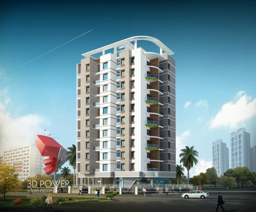 Apartment Front Elevation : Architectural apartment rendering d design