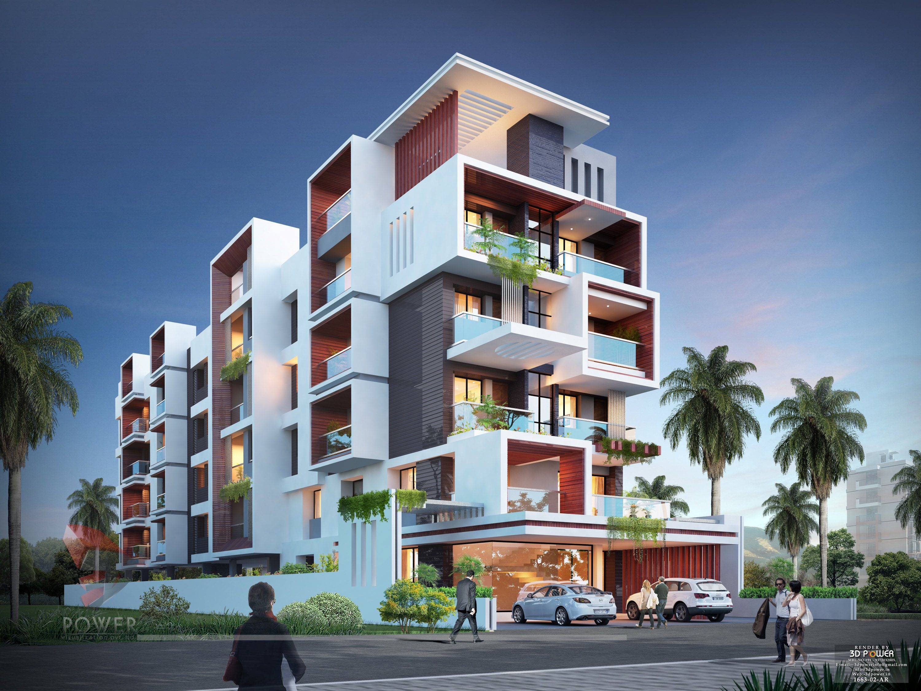 Modern Apartment Building Elevations: Architectural Apartment Rendering
