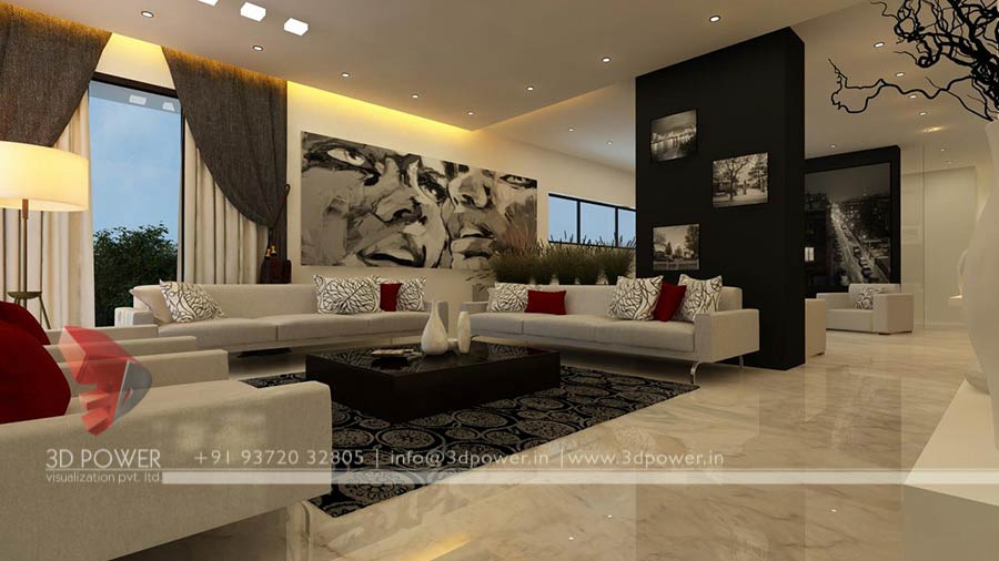 Apartment design rendering 3d contemporary modern for Apartment design consultant