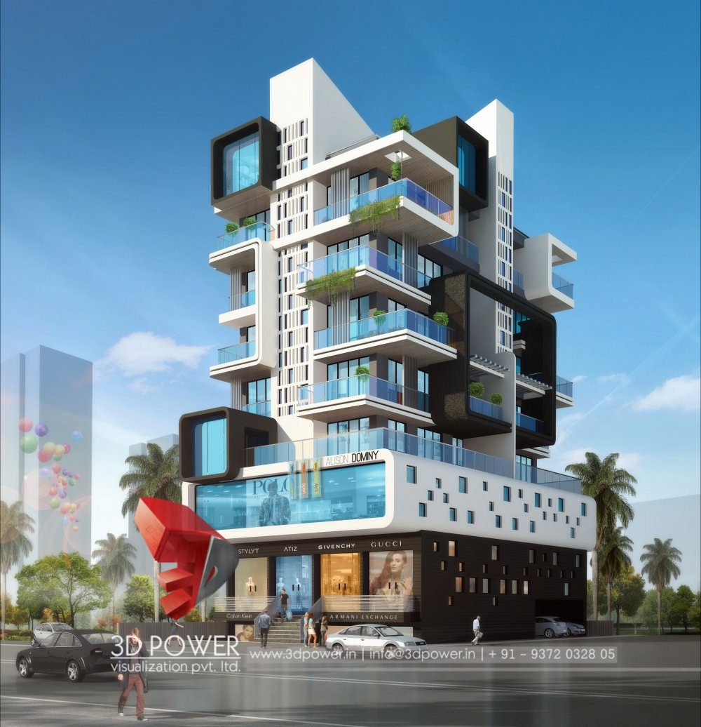 Apartment design rendering 3d contemporary modern for Apartment building layout