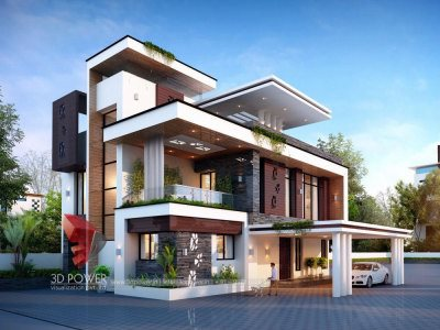 3d visualization studio bungalow villa house home kothi day view new concept new latest designs 2018 architectural work photos elevations views rednerings 3d model