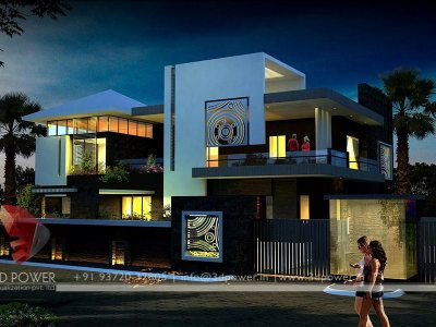 architectural visualization for bungalow night view of kothi villa bungalow house modern bungalow night view designs 3dpower 2018 2017