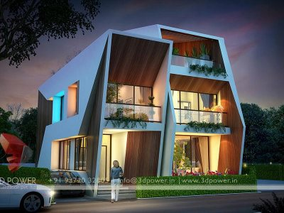 bungalow villa house home 3d night view architectural work done by architect sanjay puri villa night view house night view=home night view night visualization rendering