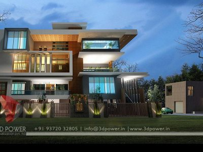 contemporary bungalow night rendering we provide services like visualization architectural renderings 3d floor plans bungalow front elevation interior designs