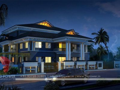 contemporary bungalow night view 3d traditional palcial bungalow designs 3d views for villa bungalow kothi house home latest design 3d services