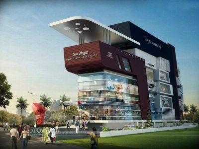 exterior design rendering architectural visualization night view shopping mall elevations shopping mall designs shopping mall walkthrough shopping mall 3d architectural rendering