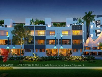 night view township design night view of apartemnt night view of row bungalow rowhouses night view of modern apartment planning