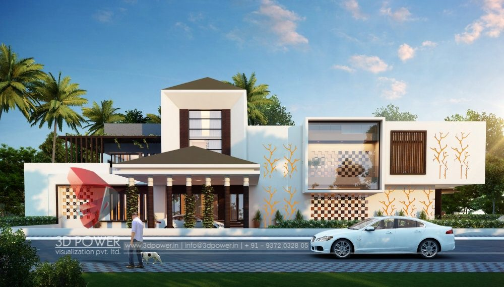 Architectural Rendering Bungalow Evening View Bungalow Front Designs Home  Front View Best Designs Top Designs Indian
