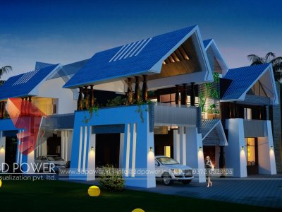 Panoramic Villa Night View exterior 3d rendering architectural 3d rendering services walkthrough architectural