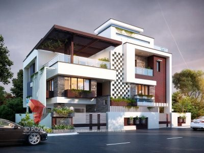best architectural visualization services bungalow evening view villa evening view kothi evening view
