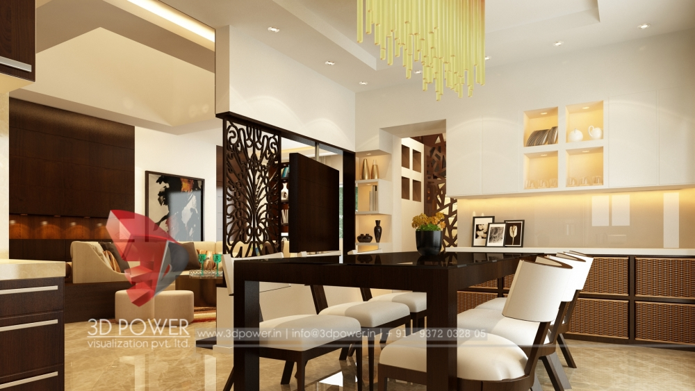 Freash White Color Dinning Interior Designs 3d Views 3d Floor Plans 3d  Power Interior Designs Latest