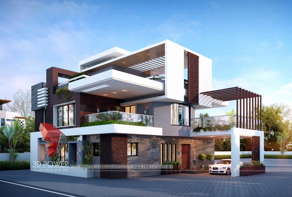 Bunglow design 3d architectural rendering services 3d for House design outside view
