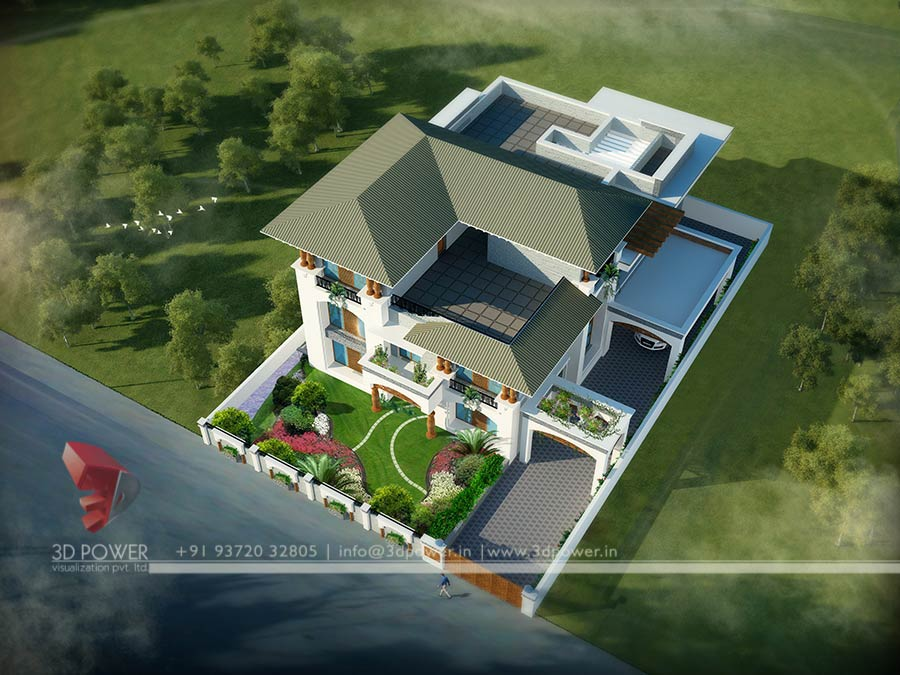 Bunglow design 3d architectural rendering services 3d Indian bungalow design