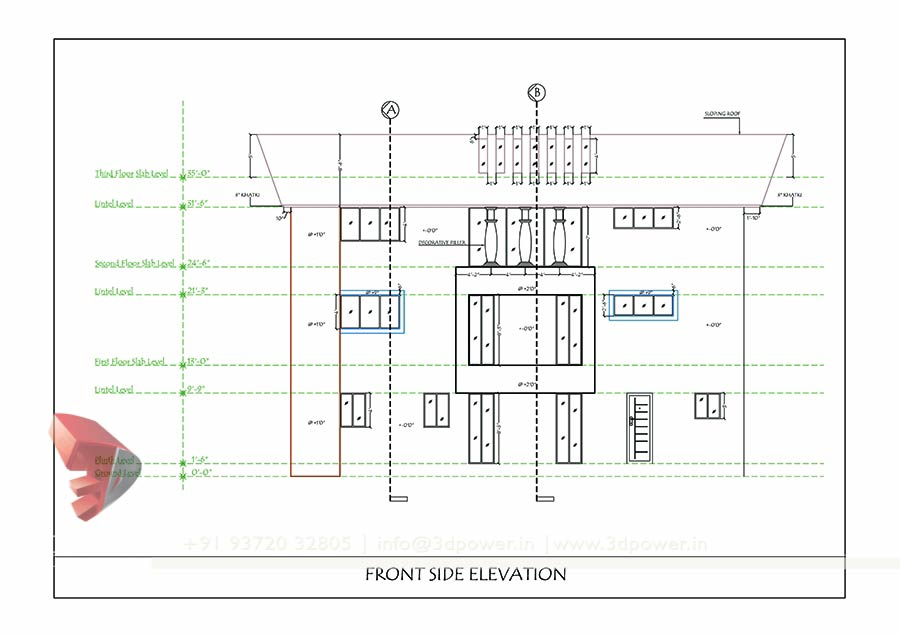 Hotel Front Elevation Cad Drawings : Bunglow design d architectural rendering services