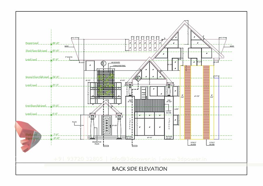 Floor Plans And Elevation Drawings Pdf : Bunglow design d architectural rendering services