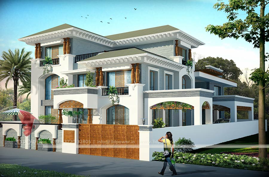 Bunglow design 3d architectural rendering services 3d for Small bungalow design india
