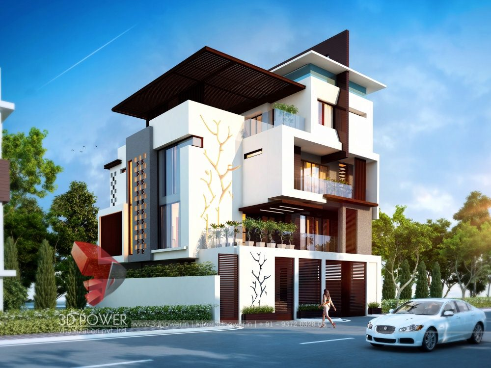 Bunglow design 3d architectural rendering services 3d for Exterior design uk