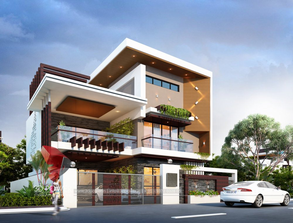 modern bungalow elevation top architectural rendering services bungalow eye level view - 21+ Small Modern House Design Bungalow Background