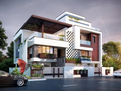 3d floor plans bungalow evening view 3d bungalow design rendering services in thane