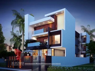 Modern Bungalow Exterior Day & Night Rendering & Elevation Design By Power