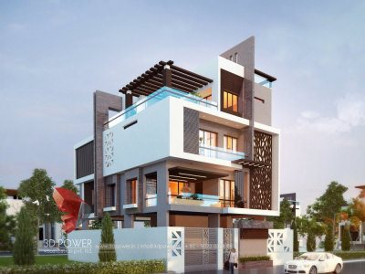 architectural 3d rendering services bungalow evening view thane location