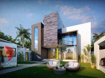 architectural design bungalow  3d animation walkthrough exterior design rendering bungalow evening view in thane