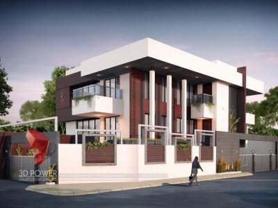 beautiful bungalow view 3d animation company in thane bungalow evening view