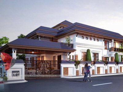 modern bungalow front elevation 3d view 3D power visualization