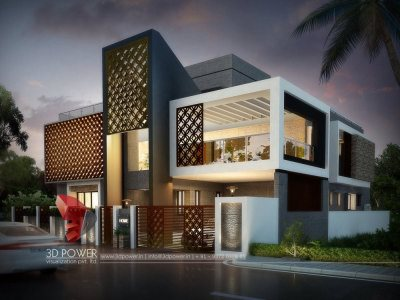 thane modern bungalow Design and front view elevation 3d power