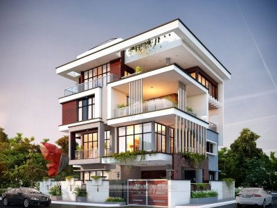 3d-architectural-outsourcing-company-bungalow-evening-view-Bungalow-Elevation