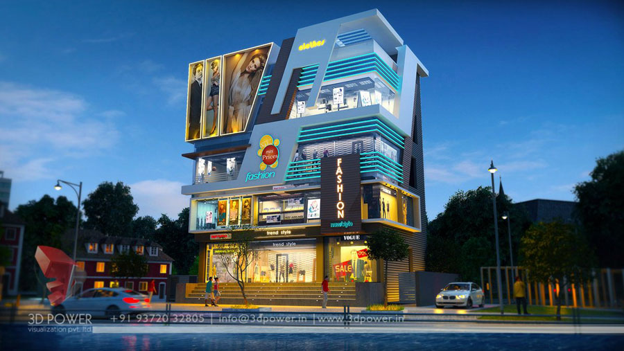 Front Elevation Of Showroom : Commercial building design shopping mall