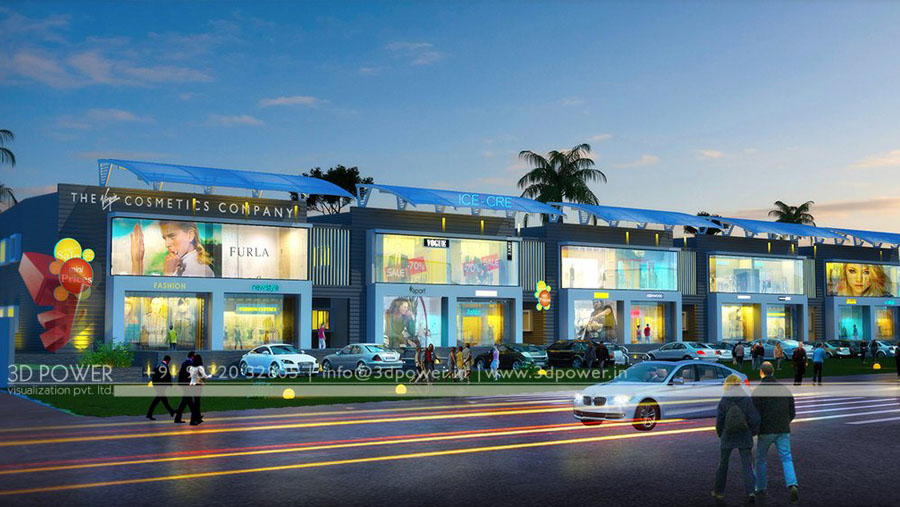 Mall Multiplex Design Rendering on Modern Front House Elevation Designs