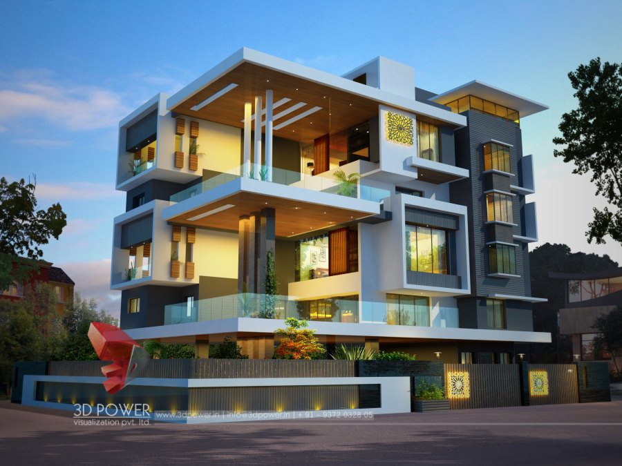 Front Elevation Commercial Complex : D architectural bungalow rendering elevation