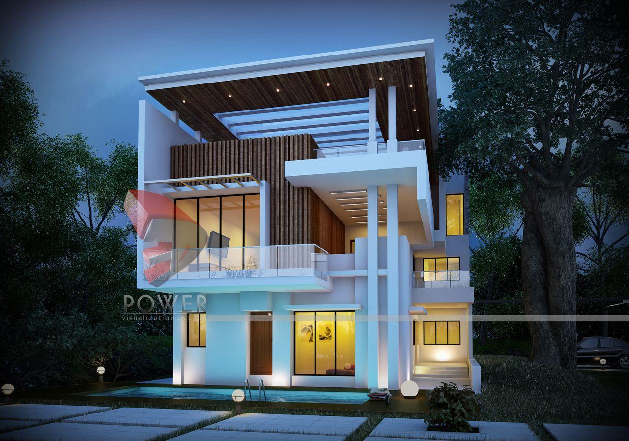 3D Architectural Bungalow Rendering | Bungalow Elevation ...