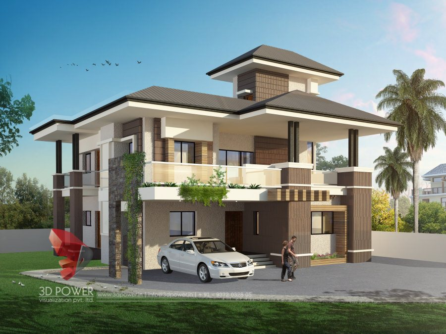 3d architectural bungalow rendering bungalow elevation for Architectural designs for bungalows