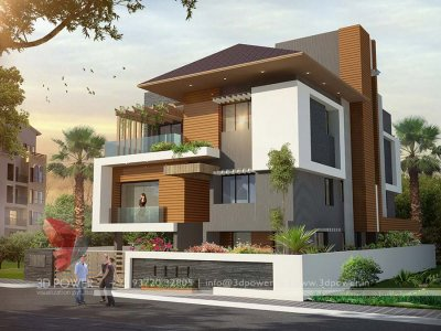 contemporary bungalow 3d exterior rendering