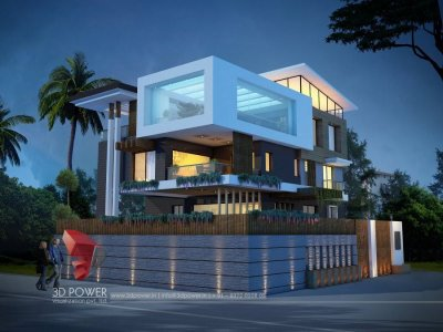 contemporary bungalow 3d rendering night view