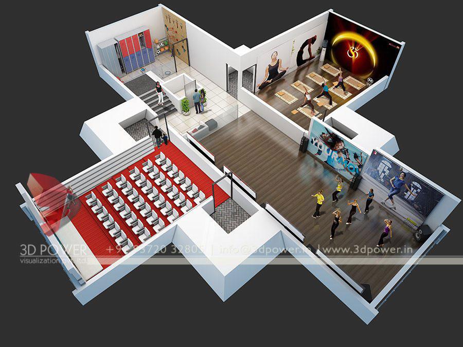 Gallery 3d Cutsection Floor Plan 3d Architectural Industries Plan Interior 3d Visualization 3d Power