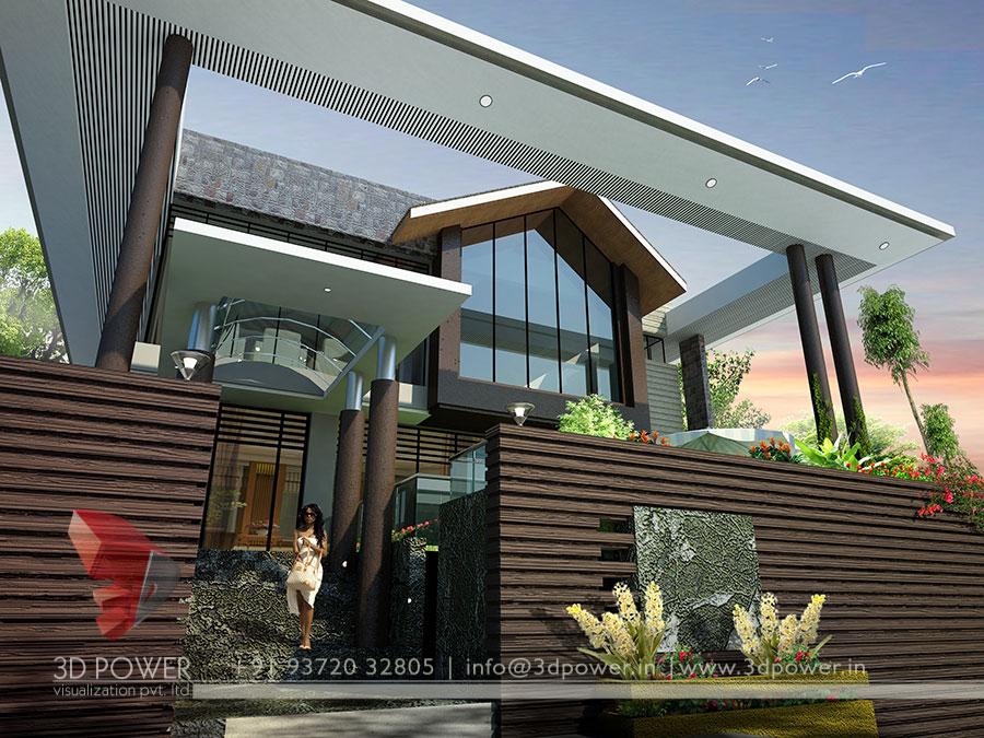 ... Bungalow Rendering - Modern 3D Bungalows - Latest Bungalow 3D Design