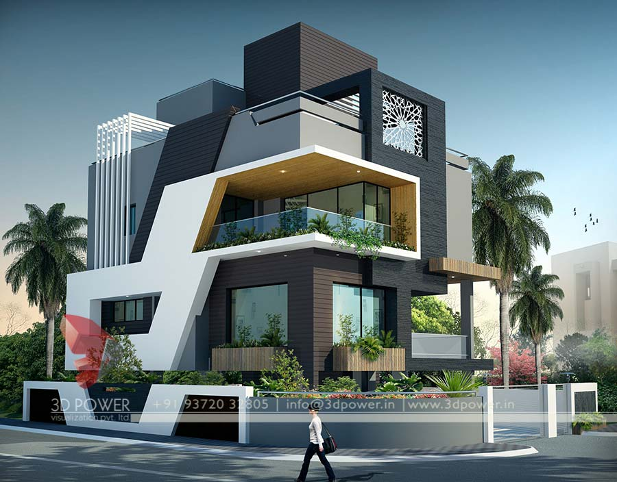 Gallery 3d architectural rendering 3d architectural for Indian bungalow designs photo gallery