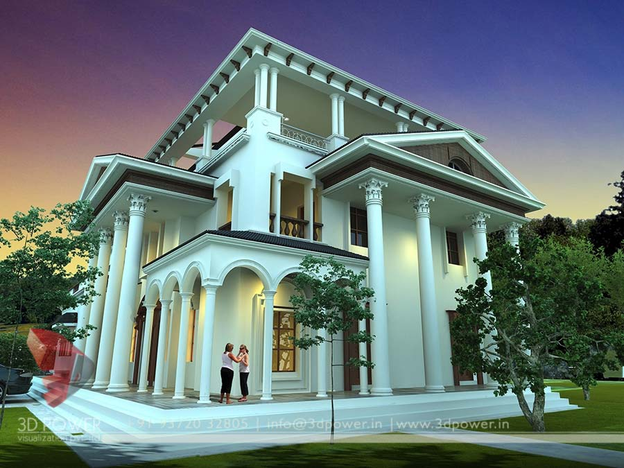 Gallery architectural 3d bungalow rendering modern 3d - Exterior designs of houses in india ...
