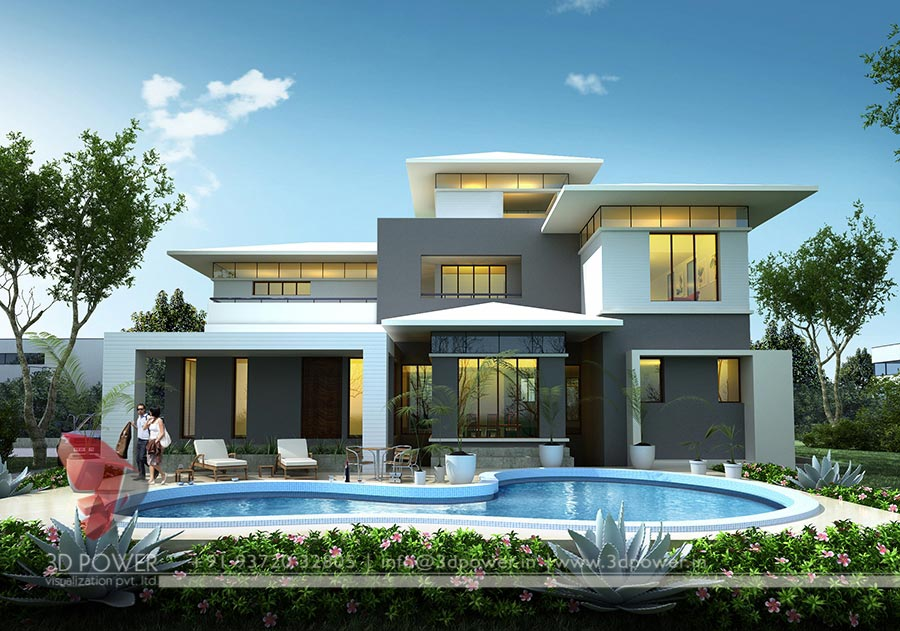 Gallery architectural 3d bungalow rendering modern 3d for New home photo gallery