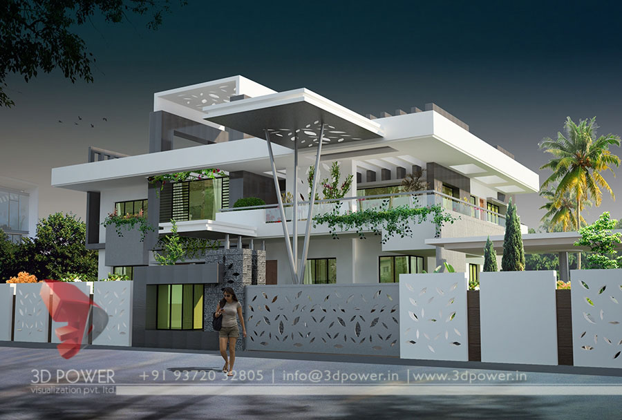 Gallery architectural 3d bungalow rendering modern 3d for Latest modern home designs