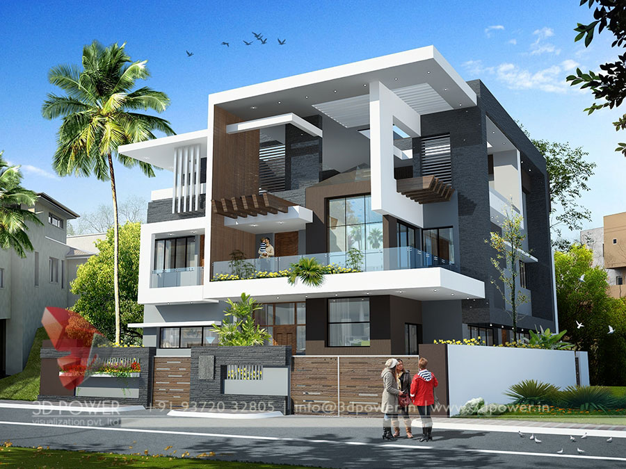 Gallery architectural 3d bungalow rendering modern 3d for Home designs 3d images
