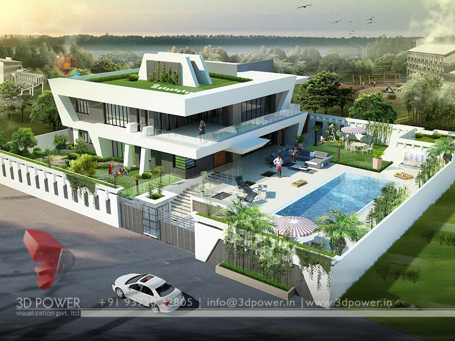 Gallery architectural 3d bungalow rendering modern 3d for Best architecture home design in india